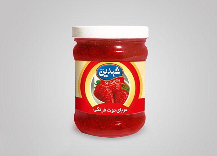 لیبل مربای توت فرنگی شهدین