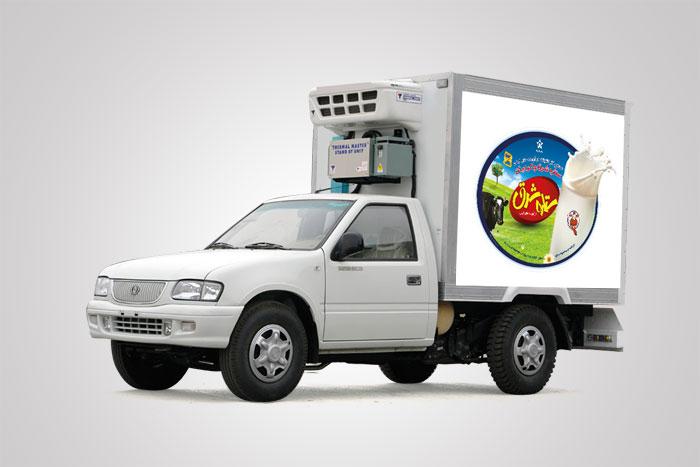 تبلیغات محیطی بدنه ماشین های پخش فراورده های لبنی ستاره شرق