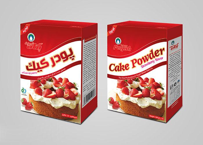بسته بندی پودر کیک با طعم توت فرنگی پگاه تهران