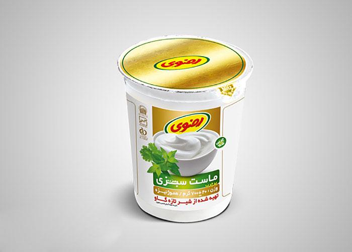 بسته بندی ماست سبزی فراورده های لبنی رضوی