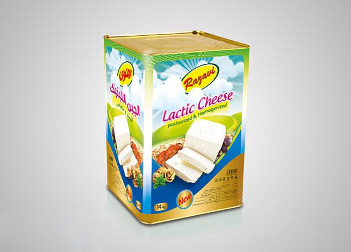 بسته بندی حلب 14کیلویی پنیر لاکتیکی فراورده های لبنی رضوی
