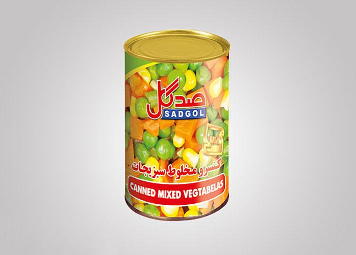 لیبل کنسرو مخلوط سبزیجات صدگل