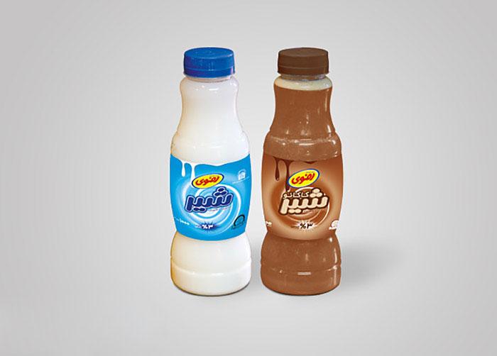 لیبل شیر ساده و شیر کاکائو فراورده های لبنی رضوی