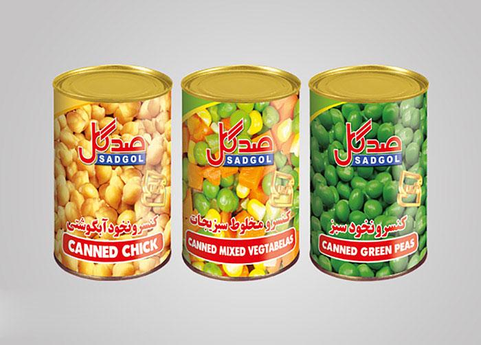 لیبل کنسرو نخودسبز، مخلوط سبزیجات و نخود آبگوشتی صدگل