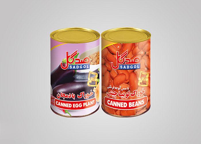 لیبل خوراک لوبیا چیتی و بادمجان صدگل