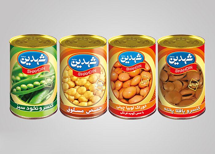 لیبل کنسرو باقلا و خوراک لوبیا و نخود و نخود سبز شهدین