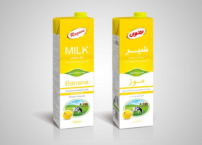 طراحی بسته بندی شیر موز استریل یک لیتری رضوی