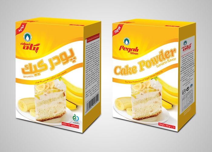 طراحی بسته بندی پودر کیک با طعم موز پگاه تهران