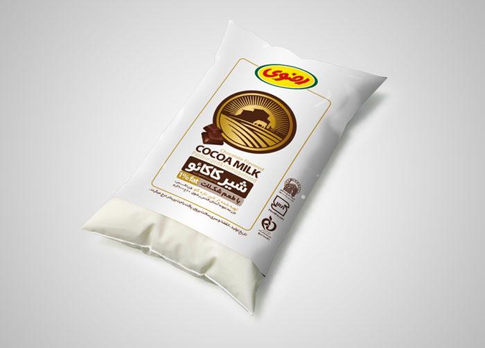 طراحی بسته بندی شیر پاکتی فراورده های لبنی رضوی