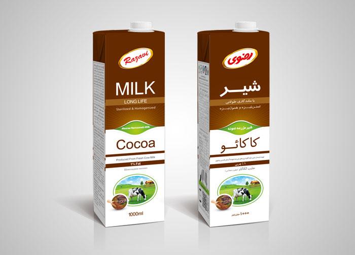 طراحی بسته بندی شیرکاکائو استریل 1لیتری رضوی
