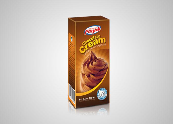بسته بندی خامه شکلاتی 200 استریل پگاه خراسان