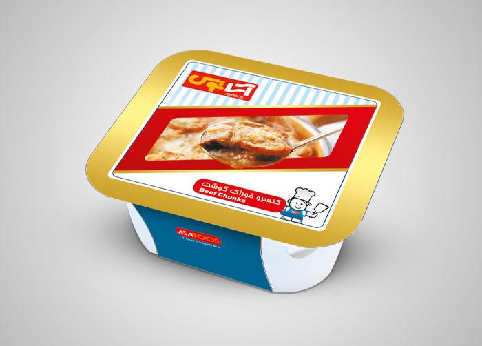 طراحی کاور کنسرو خوراک گوشت آساتوس