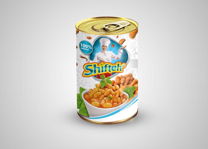طراحی لیبل خوراک لوبیا شیفته