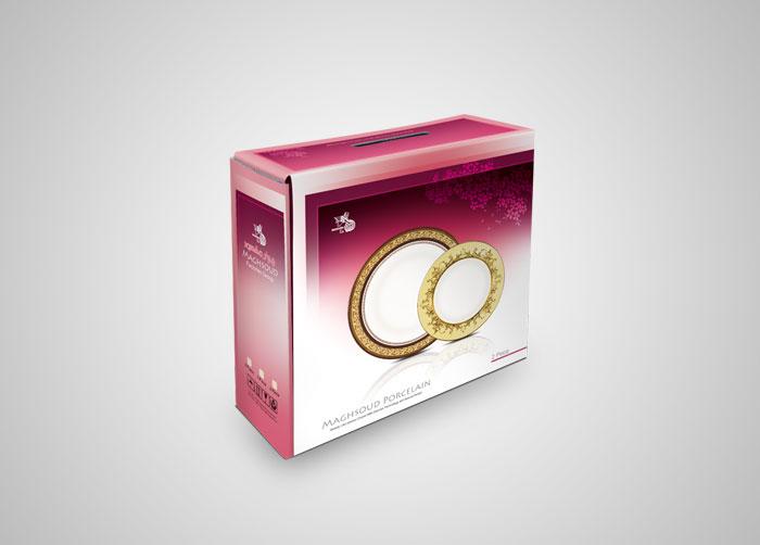 طراحی بسته بندی جعبه بشقاب تخت 9پارچه چینی مقصود