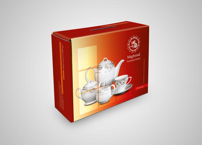 طراحی بسته بندی جعبه سرویس چای خوری 17پارچه چینی مقصود
