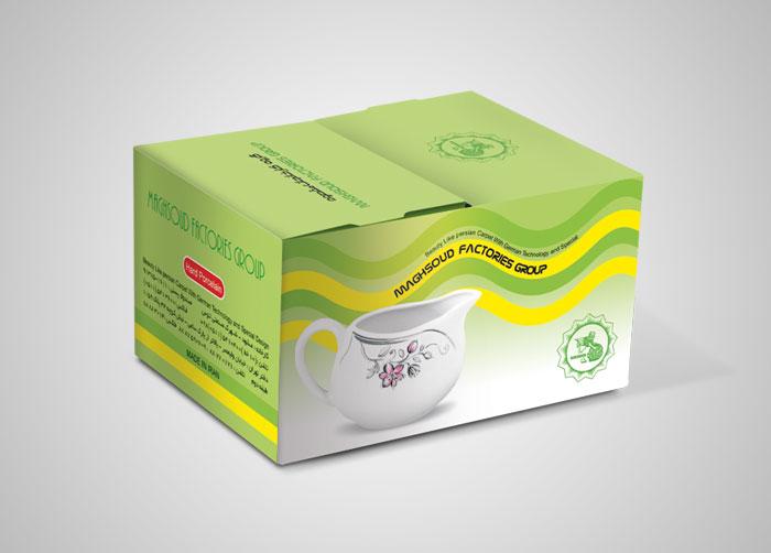 طراحی بسته بندی جعبه شیرخوری گرد چینی مقصود