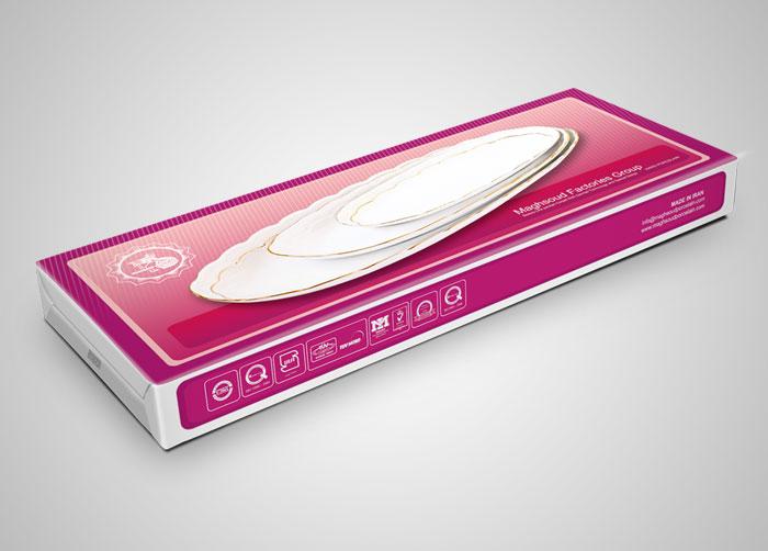 طراحی بسته بندی جعبه ست دیس ماهی خوری چینی مقصود