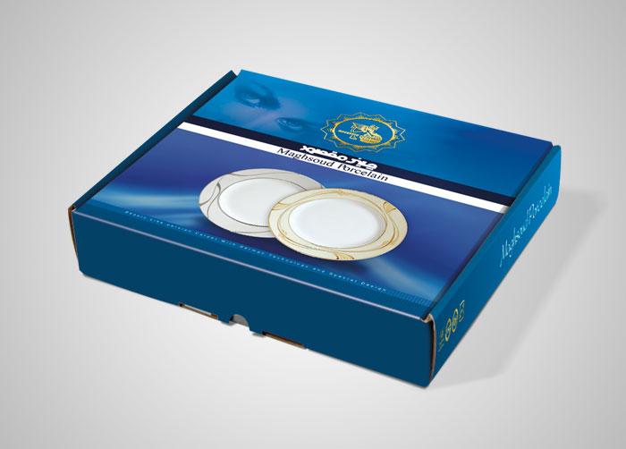 طراحی بسته بندی جعبه ست بشقاب چینی مقصود