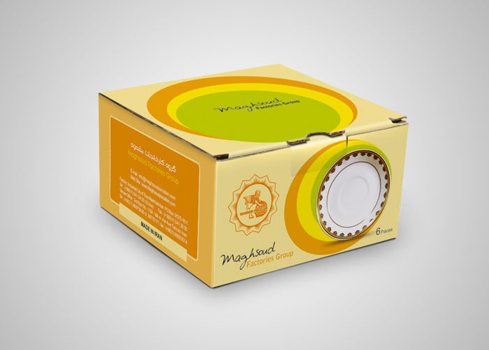 طراحی بسته بندی جعبه نعلبکی چینی مقصود