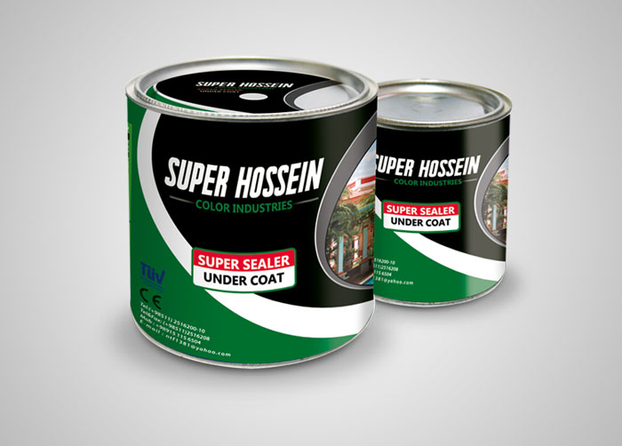 طراحی بسته بندی رنگ پوشش زیرین سوپرحسین