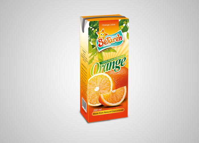 بسته بندی آب پرتقال 200 استریل ستاره شرق