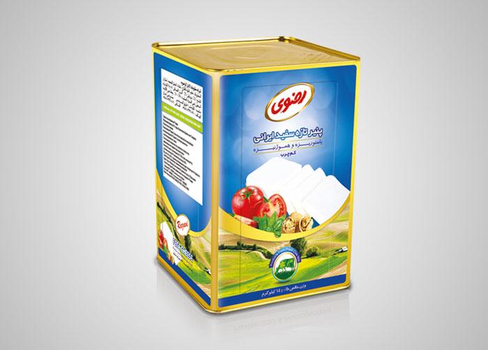 بسته بندی حلب 14کیلویی پنیر تازه سفید ایرانی رضوی