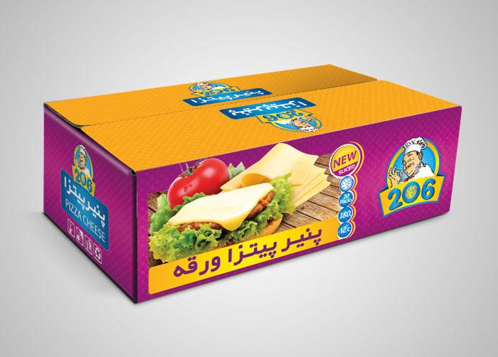 طراحی کارتن مادر لمینتی پنیر پیتزا ورقه 206