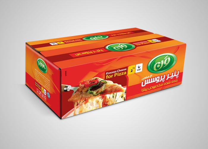 طراحی کارتن مادر پنیر پروسس رنده شده مخصوص پیتزا ون