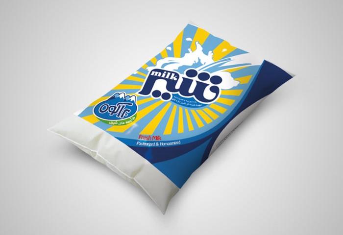 طراحی بسته بندی شیر نیم چرب پری پک براکوه