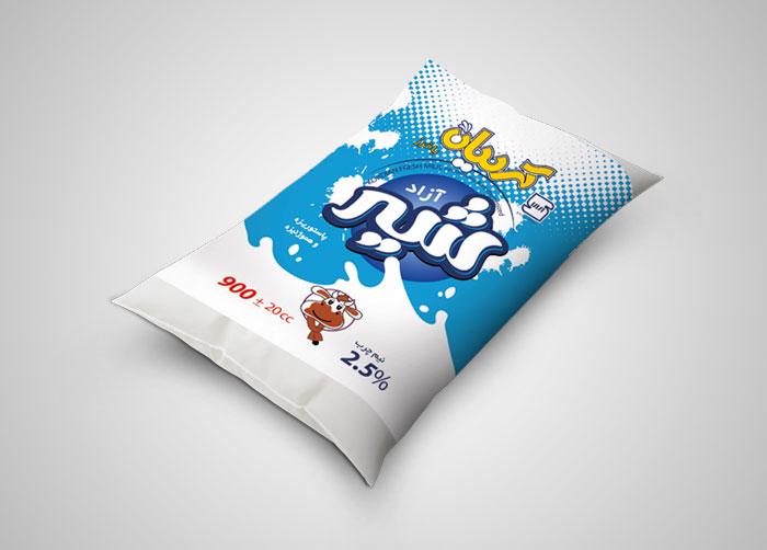 طراحی بسته بندی شیر نیم چرب پری پک کردیان