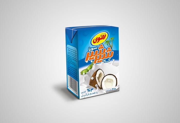 طراحی بسته بندی شیر شیرسویا با طعم نارگیل رضوی