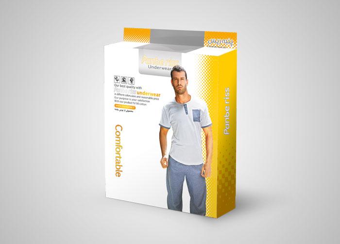 طراحی بسته بندی جعبه ست تاپ وشلوار پنبه ریس