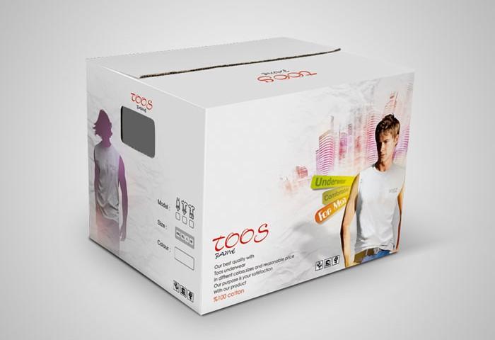 طراحی بسته بندی کارتن مادر لباس زیر مردانه توس جامه