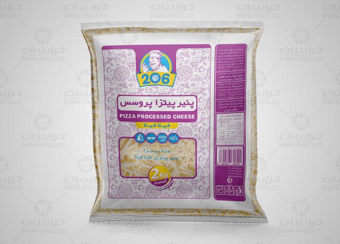 طراحی لفاف بسته بندی پنیر پیتزا رنده شده 206