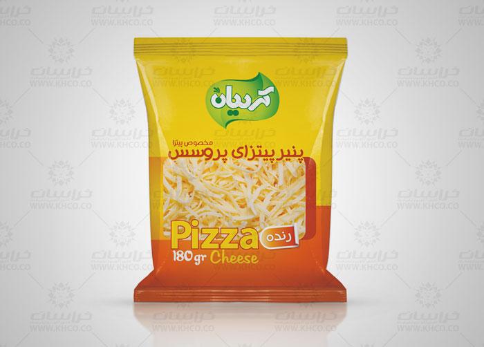 طراحی بسته بندی لفاف پنیرپیتزا پروسس کردیان