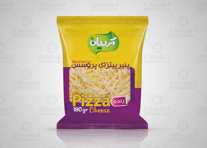 طراحی بسته بندی لفاف پنیر پیتزا پروسس کردیان