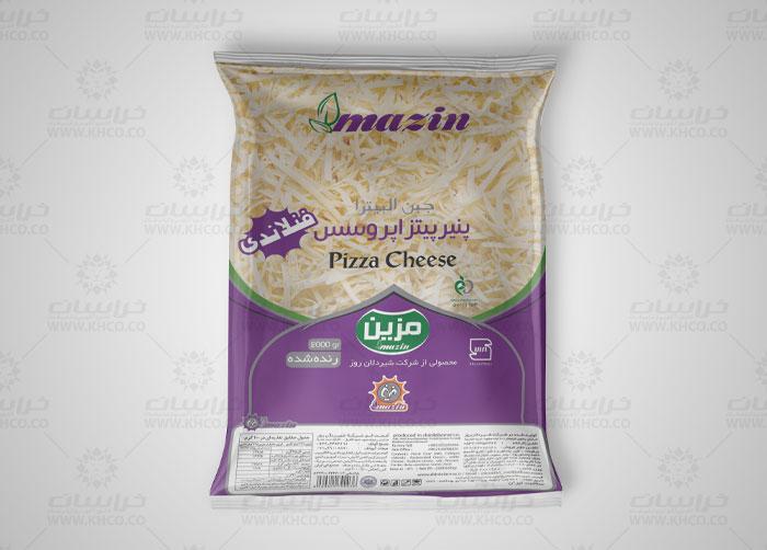 طراحی بسته بندی لفاف پنیر پیتزا پروسس فنلاندی مزین