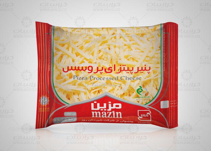 طراحی بسته بندی لفاف پنیر پیتزا پروسس مزین