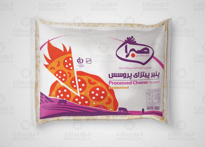 طراحی بسته بندی پنیر پیتزای صبرا