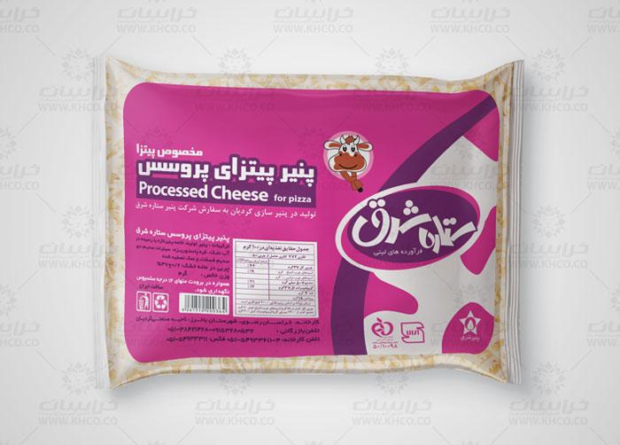 طراحی بسته بندی لفاف پنیر پیتزا پروسس ستاره شرق