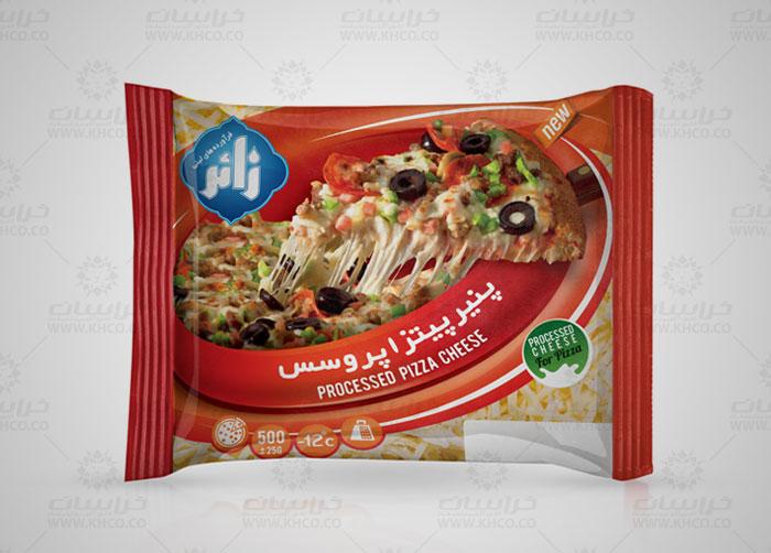 طراحی لفاف بسته بندی پنیر پیتزا زائر
