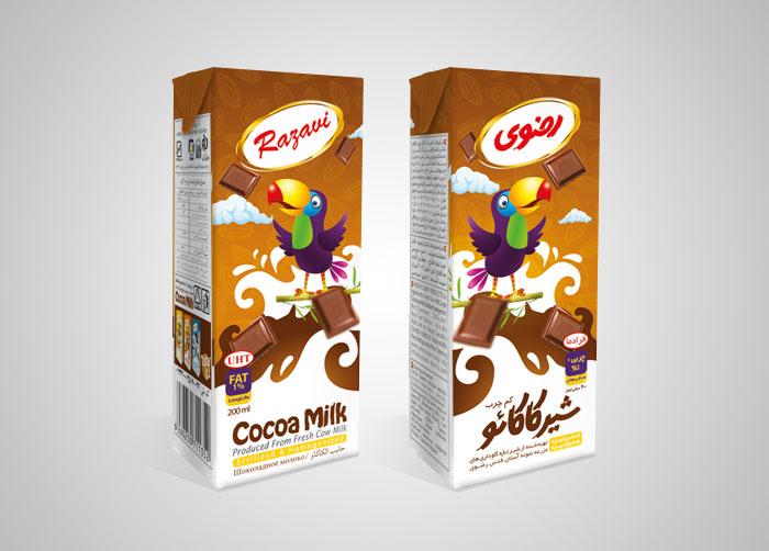 طراحی بسته بندی شیرکاکائو فراورده های لبنی رضوی