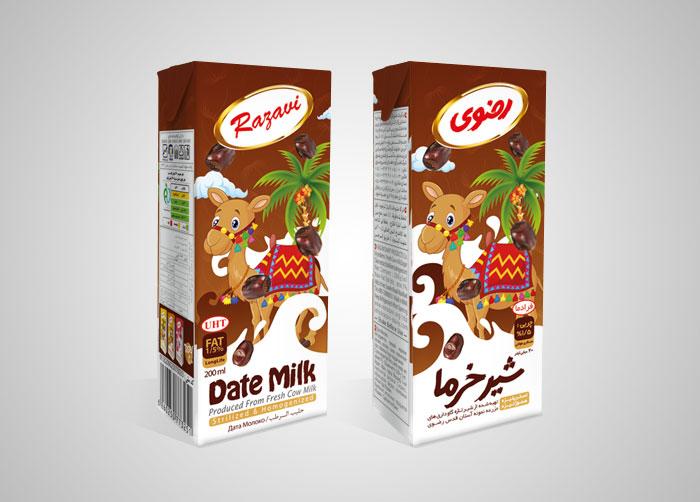 طراحی بسته بندی شیر خرما استریل رضوی