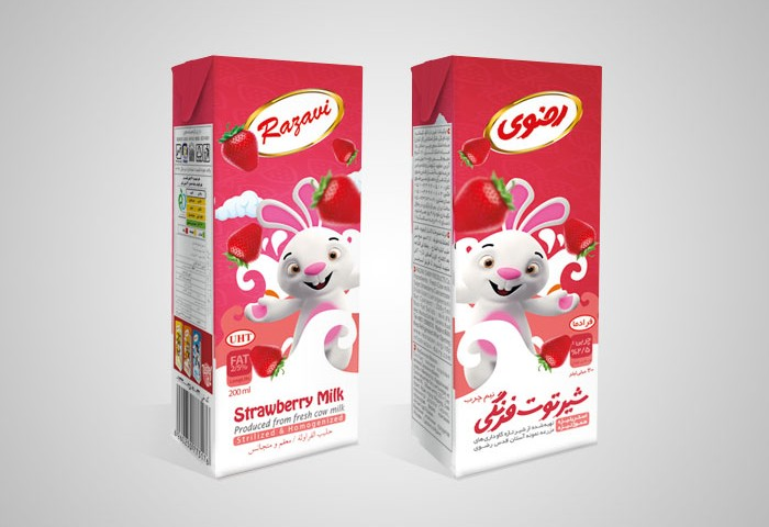 طراحی بسته بندی شیر توت فرنگی استریل رضوی