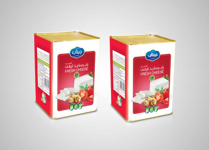 طراحی بسته بندی حلب 14کیلویی پنیر چیتاب