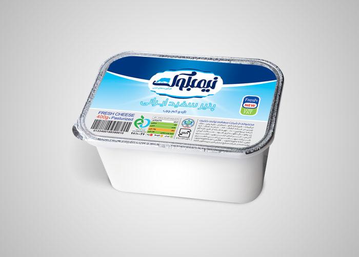 طراحی بسته بندی فویل پنیر سفید نیمبلوک