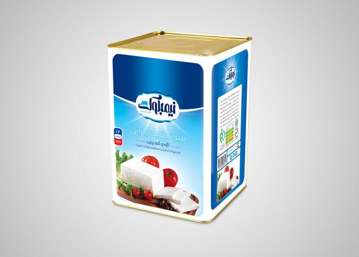 طراحی بسته بندی حلب 14 پنیر سفید نیمبلوک