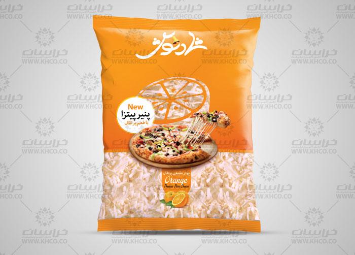 طراحی لفاف بسته بندی پنیر پیتزا طعم دار شادنوش