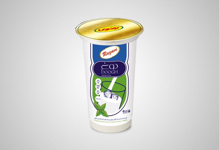 طراحی بسته بندی لیوان دوغ 200سی سی رضوی