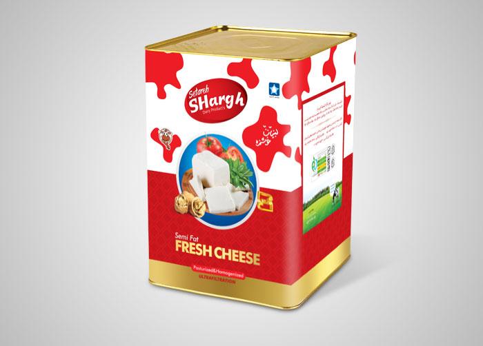 طراحی بسته بندی حلب 13 کیلوی پنیر ستاره شرق